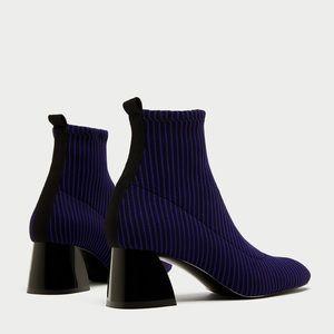 Zara Contrasting Sock-Like High Heel Ankle Boot 6